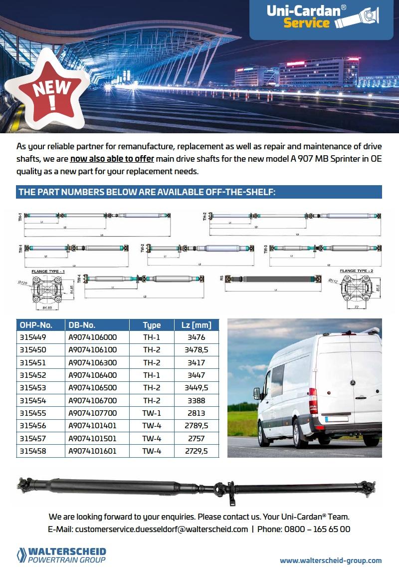 Uni-Cardan® Flyer Van DB Sprinter A9079