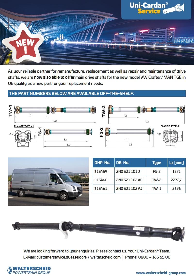 Uni-Cardan® Flyer VW Crafter / MAN TGE