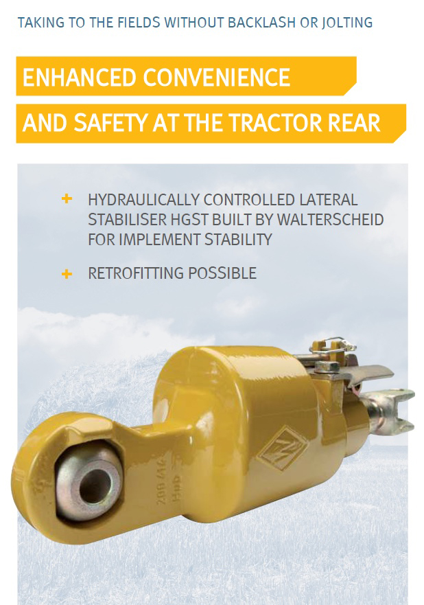 Hydraulically controlled lateral stabiliser